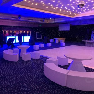 Our LED Colour-Changing Curved benches paired beautifully with our LED cubes at a private function.