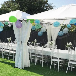 Utilise our white plastic tables and choose our white resin Chiavari chairs to impress your guests.