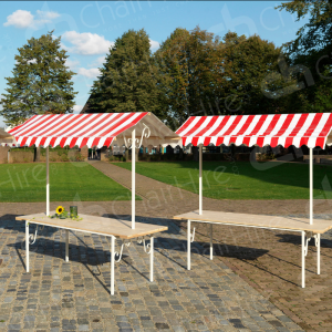Our red folding market stand with a 2m wide wooden tabletop and weatherproof galvanised steel frame.