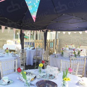 For outdoor events - hire gazebos, tables and Limewash Chiavari chairs to impress from the outset.