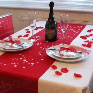Our red linens and stylish Cutlery, Crockery and glassware are perfectly complement to this romantic moments.