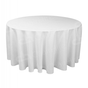 5ft Round Table Cloth - White