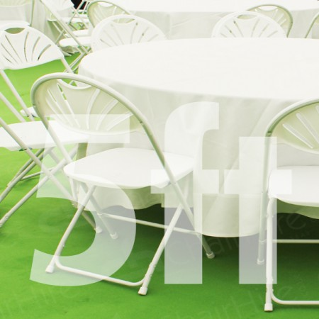 Main Image of 5ft Round Trestle Table and Folding Chairs