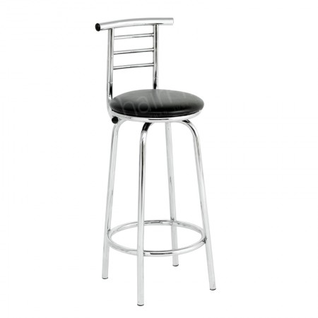 Main Image of Black Leather Stool with High Back