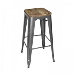 Grey Tolix Style Bar Stool Wooden Seat