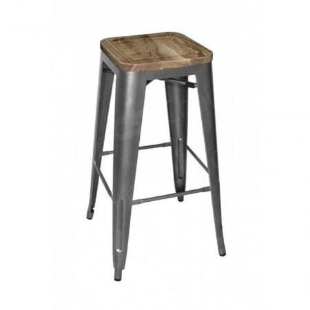 Main Image of Grey Tolix Style Bar Stool Wooden Seat