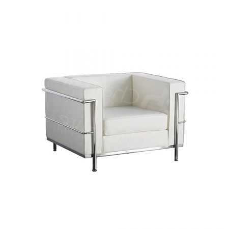 Additional Image #1 of 1 Seater Corbusier Sofa - White