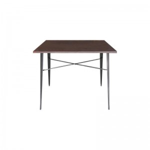 Grey Tolix Style Bistro Table Wooden Top