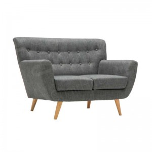 Two Seater Grey Kent Fabric Button Sofa