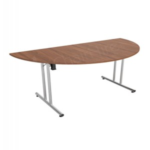 Walnut Modular D-end Meeting Table