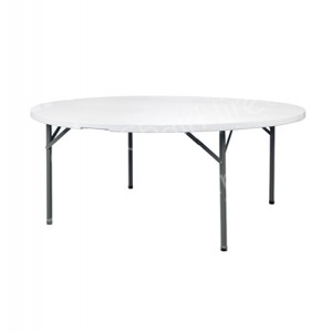 White 5ft Round Plastic Table