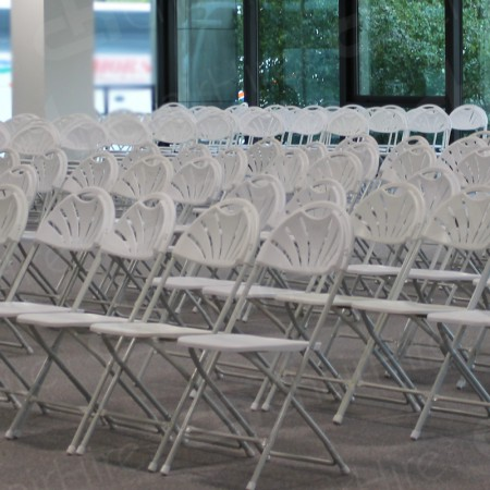 Additional Image #29 of White Folding Fan Back Chair