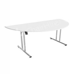 White Modular D-end Meeting Table