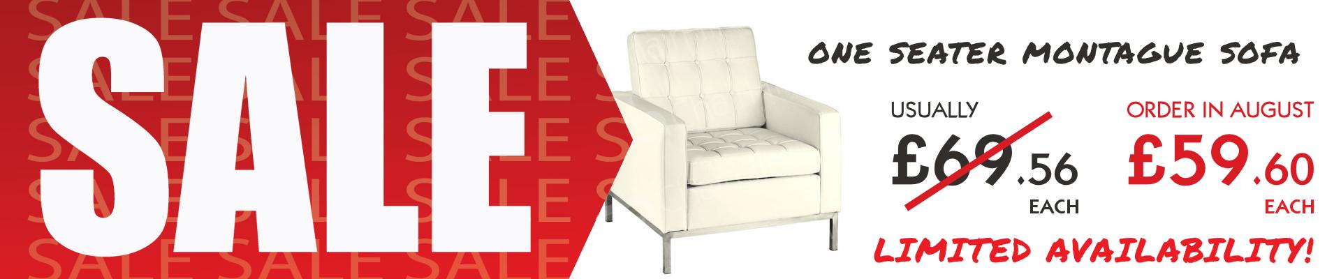 One Seater Cream Montague Sofa Sale