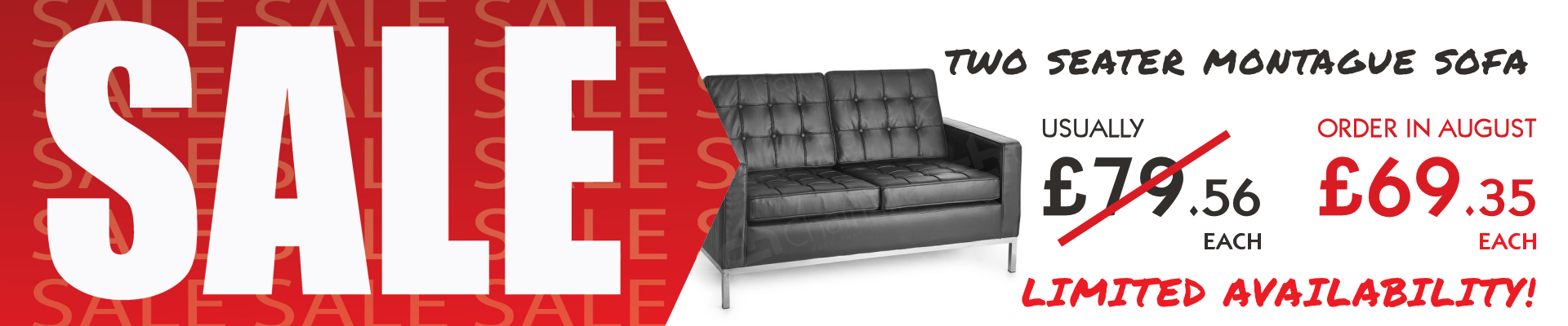 Two Seater Black Montague Sofa Sale